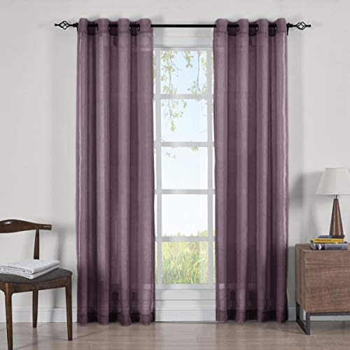 GoLinens Luxury Abri Grommet Crushed Sheer Curtain Panels (Set of 2) - Panels Measures 50 Inches Wide - Eggplant - 84
