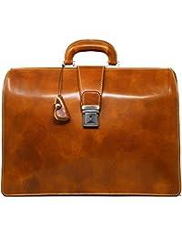 Ciabatta Italian Leather Briefcase Attache (Olive (Honey) Brown)