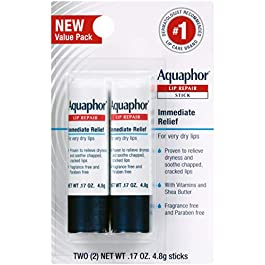 Aquaphor Lip Repair Stick – Soothes Dry Chapped Lips – Two(2) .17 Oz. Sticks
