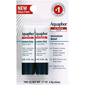 Aquaphor Lip Repair Stick – Soothes Dry Chapped Lips – Two .17 Oz Sticks
