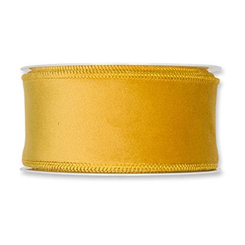(FloristryWarehouse Mustard Yellow Christmas Velvet Fabric Ribbon 2 inches Wide on 9 Yards roll. Wired Edge)