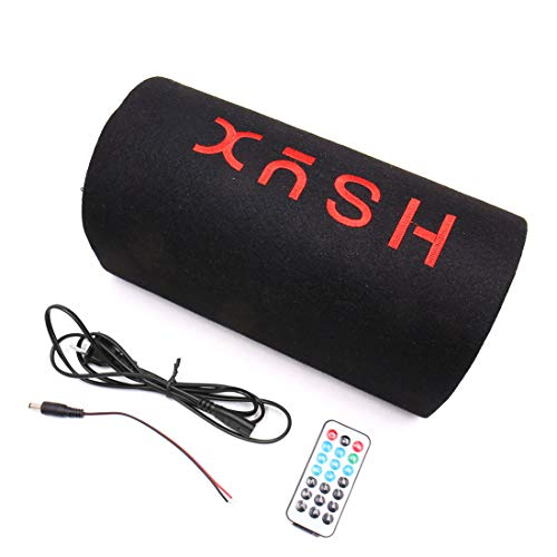 C12V 5 Inch Cylinder Shaped Subwoofer Stereo Audio Bass Amplified Speaker Fit for Car ()