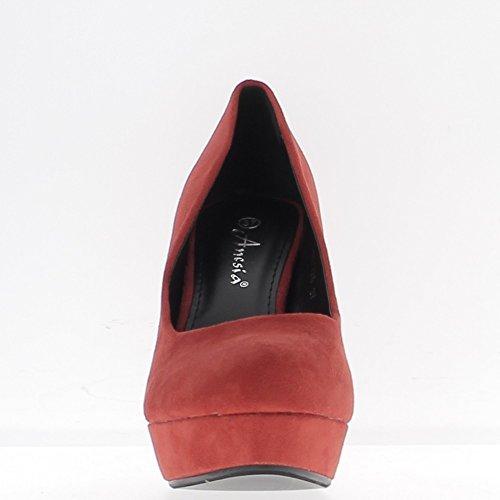 ChaussMoi Scarpe Donna Rosso Tacco 11cm Suggerimenti Turno Cuscinetto Prima Camoscio Aspetto