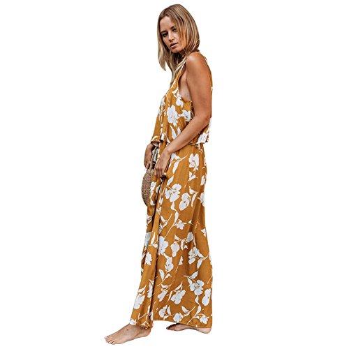 Blueb Female Skirt Scollo s Floral xxl Lian Giallo Dress Da Retro Senza V A Maniche 1 Dimensioni L Summer colore Chic Confezione Beach 7ptwH