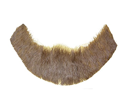 (2024 (Light Brown) Human Hair Beard Professional Costume Beard Includes 6 Free Adhesive)