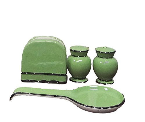Tuscany Pistachio Green, Ruffle 4pc Stove Top Set, Napkin,Salt, Pepper and Spoon Rest, 85425/28 by ACK (Glazed Green Ceramic Pistachio)