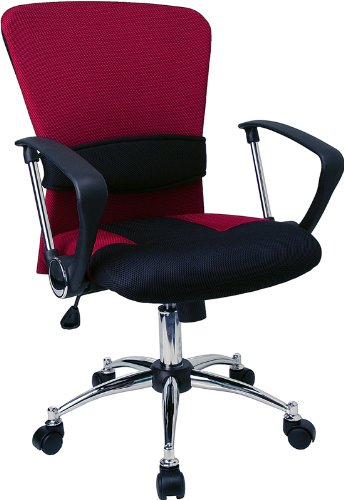 Flash Furniture Mid-Back Burgundy Mesh Swivel Task Chair with Arms - Swivel Burgundy Task Chair
