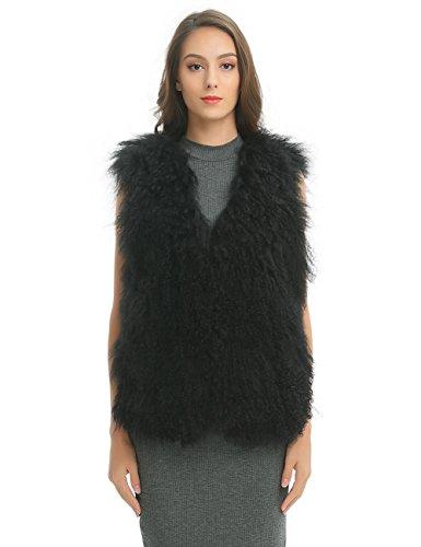 Ferand Elegant Sleeveless Genuine Mongolian Lamb Fur Winter Vest for Women, Black, Large