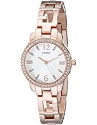 GUESS Womens U0568L3 Iconic  Rose Gold-Tone Logo Watch with Genuine Crystals & Self-Adjustable Links