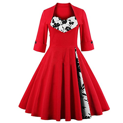 LINK-FLY Printed Flora Short Sleeve Vintage Dresses 1950s Seniors Prom Dresses Retro Gowns Short Cocktail Dress, Red XXL
