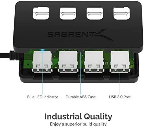 Sabrent 4-Port USB 3.0 Hub with Individual LED Power Switches | 2 Ft Cable | Slim & Portable | for Mac & PC (HB-UM43) 41P565NtsvL