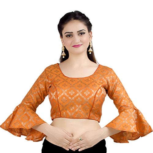 Chandrakala Women's Designer Bollywood Readymade Orange Saree Blouse Padded Brocade Choli- X-Large (B141ORA5)