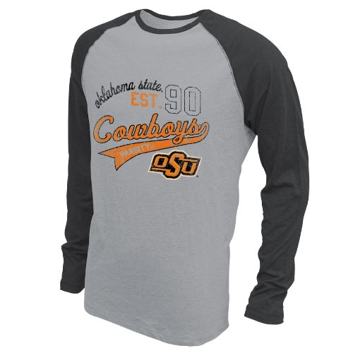 NCAA Oklahoma State Cowboys Men's Baseball Long Sleeve, XX-Large, Premium Heather/Black Heather (Cycling State Oklahoma Jersey)