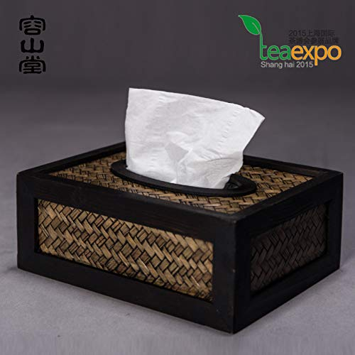 SeedWorld Napkin Rings - Chiese Style Bamboo Woven Napkin Collection Box Tableware Kitchen Table Rattan Paper Box Tissue Box 1 PCs