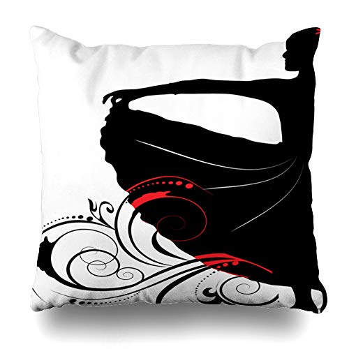 Ahawoso Throw Pillow Cover Exotic Dance Flamingo Dancer On Flowers Clip Fan Fiesta Spanish Ballet Blossom Costume Design Gypsy Home Decor Cushion Case Square Size 16