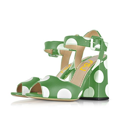 FSJ Women Jelly Polka Dot Chunky High Heel Peep Toe Evening Dress Shoes for Cocktail Party Size 6 Green