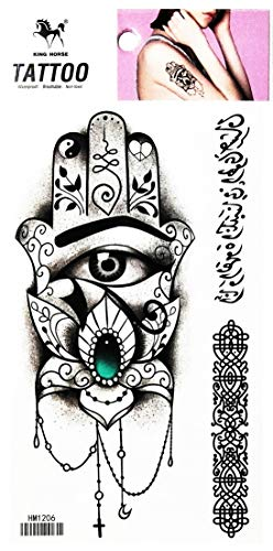 PP TATTOO 1 Sheet Lotus Hamsa Hand Evil Eye Amulet Fashionable Henna Temporary Tattoos Make up Neck Shoulder Upper arm…
