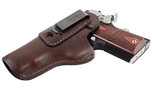 The Defender Leather IWB Holster - Fits Most 1911 Style Handguns - Kimber - Colt - S & W - Sig Sauer - Remington - Ruger & More - Made in USA - Brown Left Handed (Form Fitting Holster)