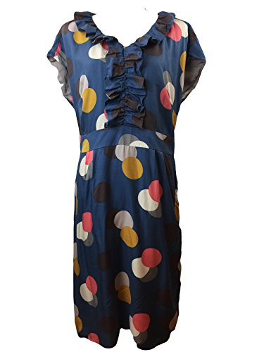 Polka Dot Lined Size Ruffle Dress Silk L Viscose BODEN US 10 Front Floral HYznw0S
