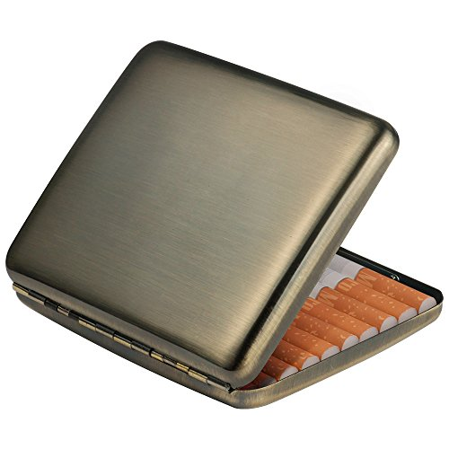 Vintage Brushed Bronze Cigarette Case Card Case as Gift for Men by AOMOJO