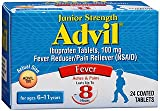 Advil Junior Strength (24 Count) Fever Reducer/Pain Reliever Coated Tablets, 100mg Ibuprofen (Pack of 2)