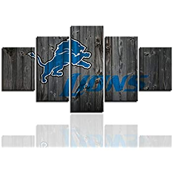 MIAUEN Wall Decor Pictures Canvas Art Poster Detroit Lions Living Room Decor Sports Football Home Decoration Prints Framed Painting Ready to Hang(60''Wx32''H)