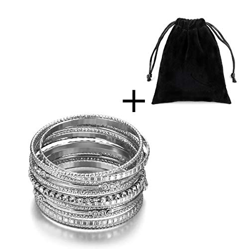 HOUJIN Women's Bangles High Polish 13 Pieces Stainless Steel Stackable Bracelets Bangle Set (Silver)