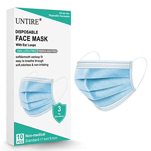 UNTIRE Disposable Face Masks 3-ply Breathable Non-Woven
