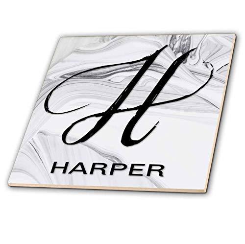 3dRose BrooklynMeme Monograms - White Marble Monogram H - Harper - 8 Inch Glass Tile (ct_305459_7)