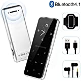 MP3 Player - Bluetooth 4.2 Metal Touch Button Sport Music Player with Armband, Build in Speaker, 60 Hours Playback Time, HiFi Sound with Voice Recorder and FM Radio, Expandable 64GB TF Card-Silver