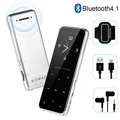 MP3 Player – Bluetooth 4.2 Metal Touch Button Sport Music Player with Armband, Build in Speaker, 60 Hours Playback Time, HiFi Sound with Voice Recorder and FM Radio, Expandable 64GB TF Card-Silver