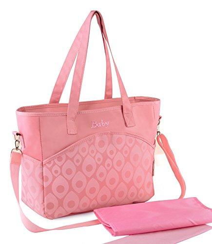Ecokaki(TM) Baby Diaper Bag Multi-function Large Mummy Messenger shoulder Bag Diaper Tote Baby Bag, Pink
