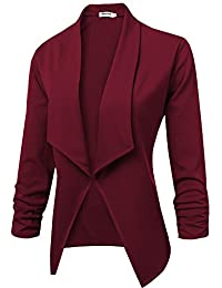 Womens Solid 3/4 Ruched Sleeve Open Front Draped Lapel...