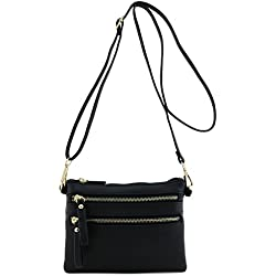 Multi Zipper Pocket Small Wristlet Crossbody Bag Black