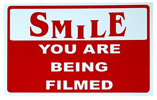 1-Pc Reliable Unique Smile You Are Being Filmed Sign 24Hr Watched Video Surveillance Camera Safety Home Premises Hour Yard Signs Under Cameras Protected Door Security House Trespassing Size 7