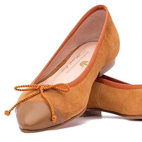 Brina Piel Reina Mujer Fabricadas Bailarinas Mano Leather Manuel Punta Con A amp; Suede Y Para Ante Marrón Armañac YWOWnR