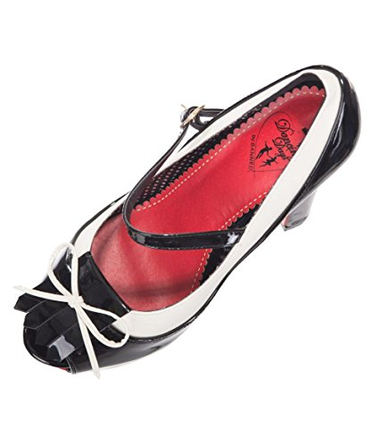 Banned Apparel June Vintage 50s Two Tone Strapped Heels Shoes Black/White gjHyHp4FFu