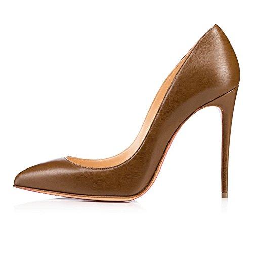 High Femme Aiguille Heel Bout Talon Chaussures EDEFS Haut Fermé Sexy Escarpins Stileoo Marron xXqn15wS05