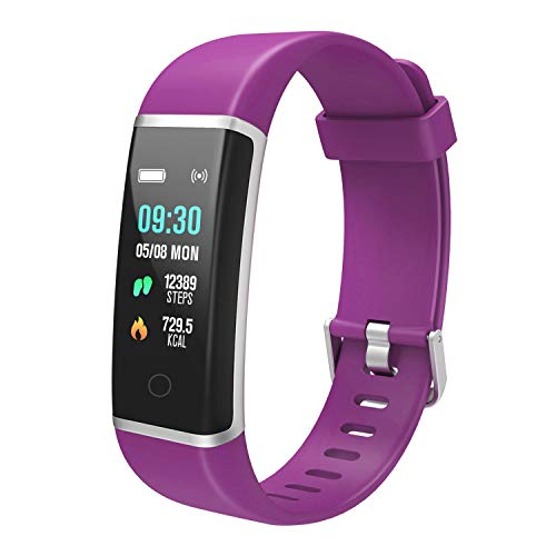 BingoFit UNHR Fitness Tracker, Slim Activity Tracker Watch, Waterproof Smart Band Step Calorie Counter Pedometer Watch for Kids Women Men Gifts (Purple Pink)