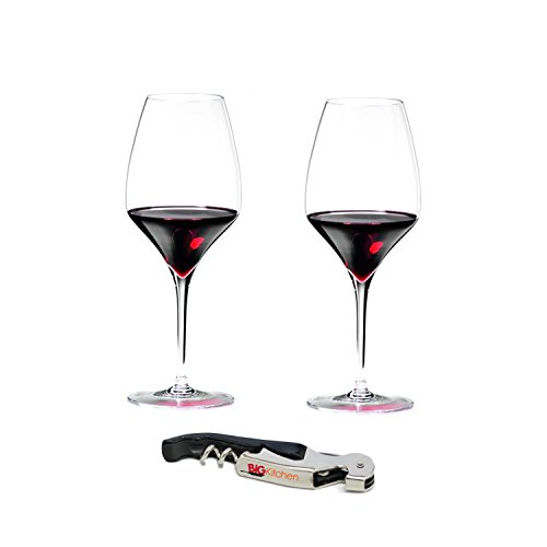 Riedel Vitis Leaded Crystal 2 Piece Syrah/Shiraz Wine Glass Set with Bonus BigKitchen Waiter's Corkscrew