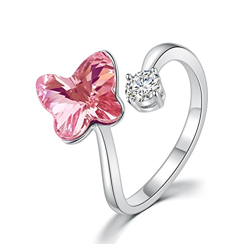 DRMglory Butterfly Adjustable Ring CuteLovely Open Finger Adjustable Ring, Little Flower Rings For Women, Purple Pink SWAROVSKI Elements Crystal Flower Rings ()