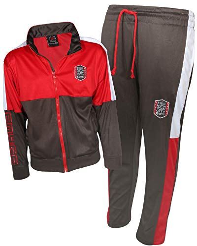 Enyce Boys Activewear 2 Piece Performance Tracksuit Set with Long Sleeve Top and Pants, Red/Grey/White, Size 16/18'