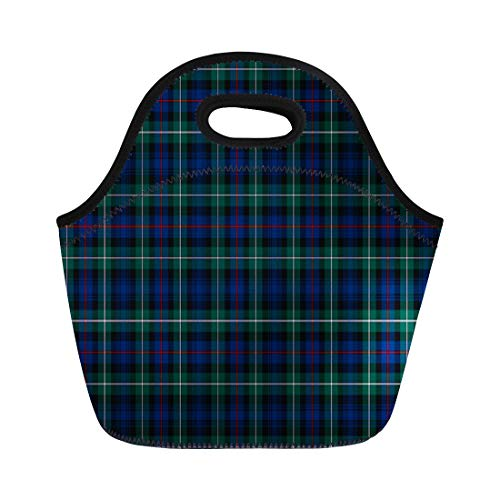 Ablitt Lunch Bags Traditional Clan Mackenzie Tartan Blue and Green Plaid Forest neoprene lunch bag lunchbox tote bag portable picnic bag cooler bag