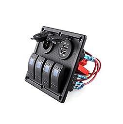 4 Gang LED Car/Boat/RV Rocker Switch Panel Dual USB Power Socket 12V-24V