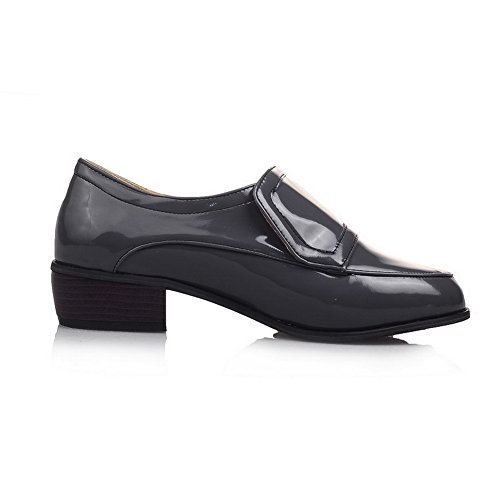 Oxfords Patent Round Heels Shoes On Pull BalaMasa Toe Gray Ladies Leather Square 610wxqOz
