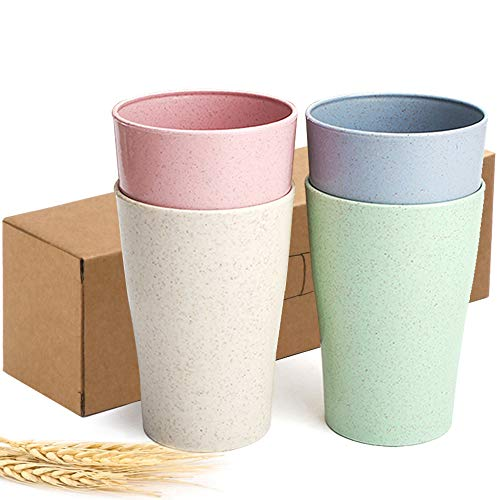kable Reusable Drinking Cup for Kids Adult (13.5 OZ), Wheat Straw Biodegradable Healthy Tumbler Set 4-Multicolor, Dishwasher Safe ()