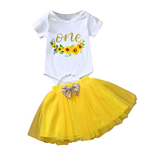 Newborn Infant Baby Girl Letter Floral Sunflower Print Romper Top Button Tutu Skirt Bow Set Birthday Outfit White ()