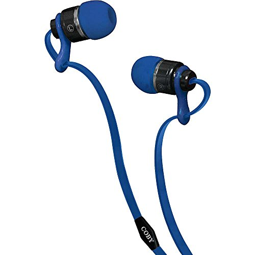 Coby CVPE-03-BLU Deluxe Tangle Free Cable Metal Stereo Earbuds with Mic, Blue