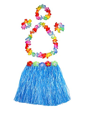 Fighting to Achieve Girl's Elastic Hawaiian Hula Dancer Grass Skirt Flower Costume Set-Blue