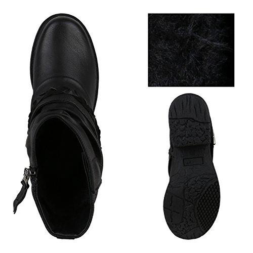 Stiefelparadies Damen Stiefeletten Metallic Biker Boots Leicht Gefütterte Stiefel Block Absatz Booties Schnallen Schuhe Damenschuhe Flandell Schwarz